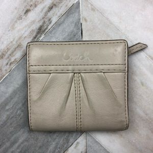 Coach Leather Mini Wallet Cream Off White
